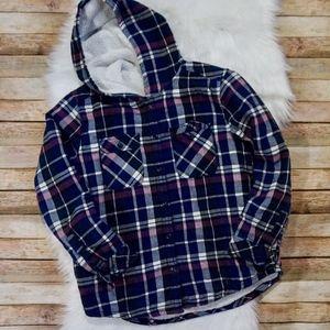 Women's Sherpa Lined Flannel Hoodie Size M